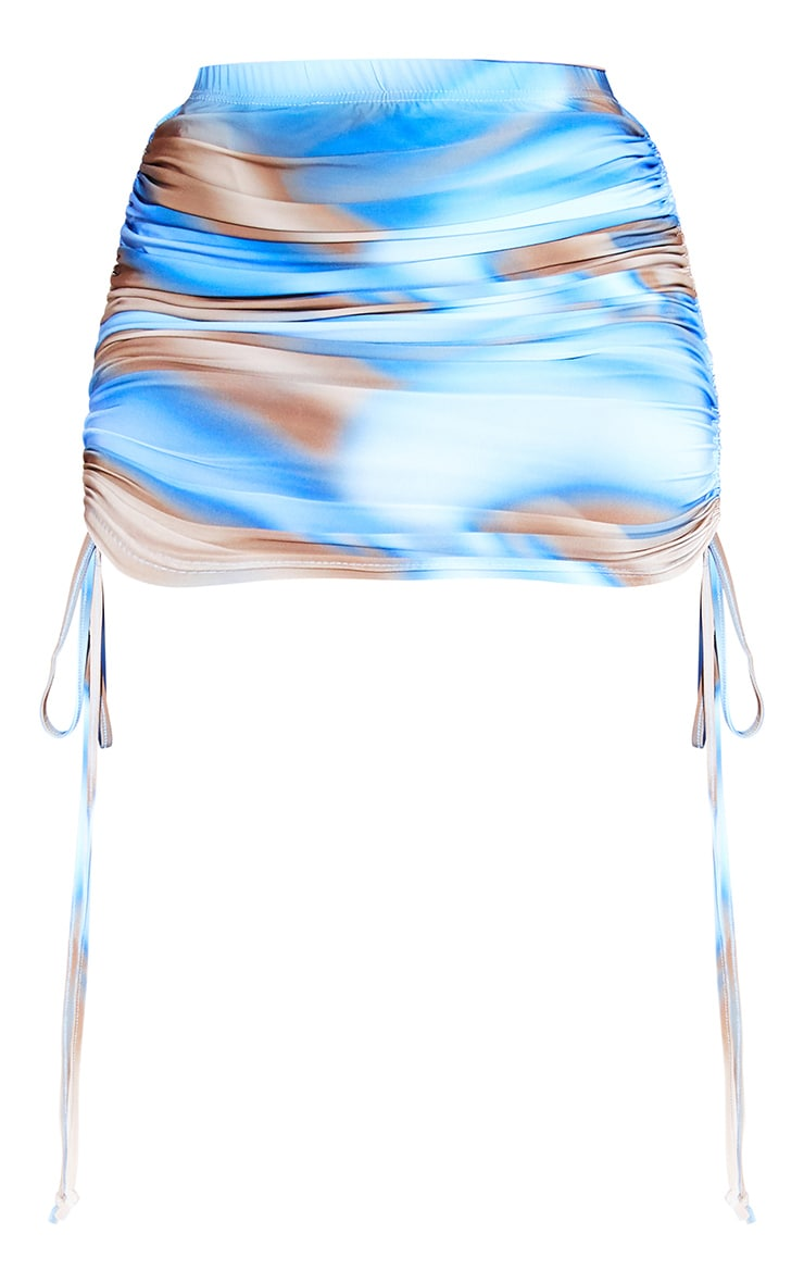 Blue Printed Slinky Ruched Bodycon Skirt 6