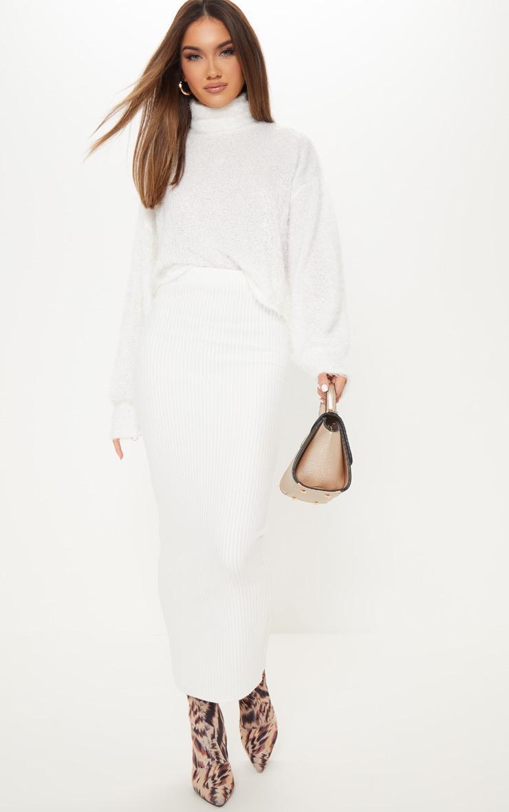 Jupe longue côtelée blanche en grosse maille