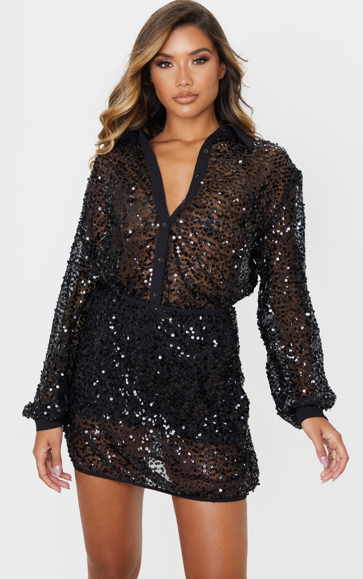 Black Mesh Sequin Oversized Shirt 1