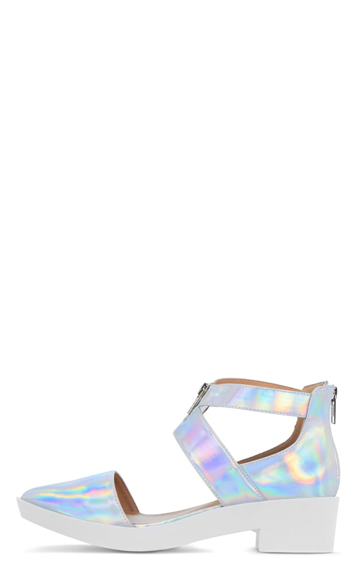 Sage Holographic Cut Out Pointed Shoe 1