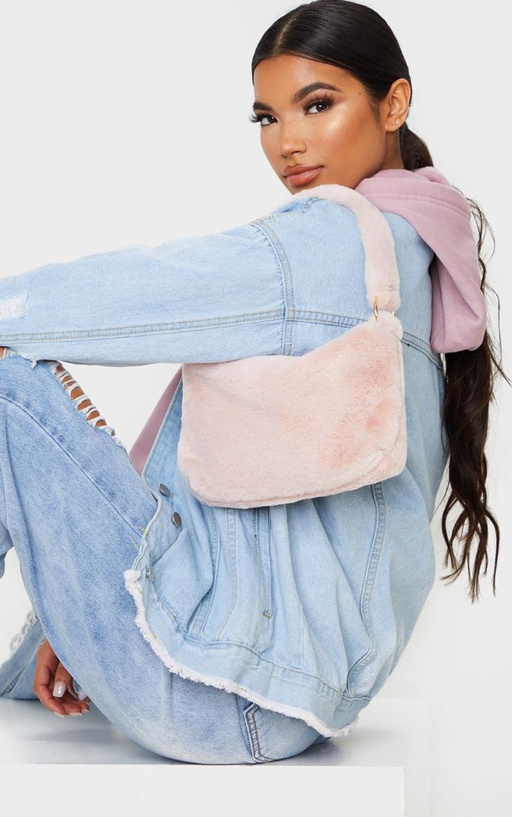 Dusty Pink Faux Fur Shoulder Bag 1