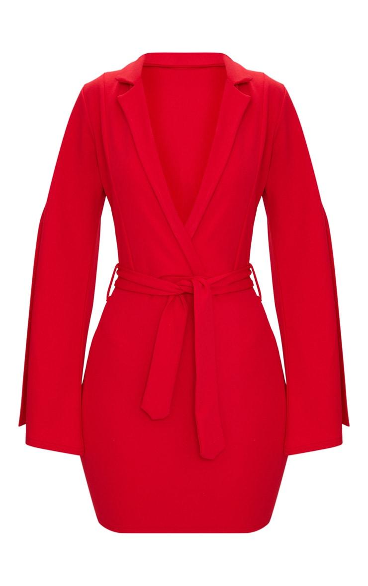Red Split Sleeve Blazer Dress  3