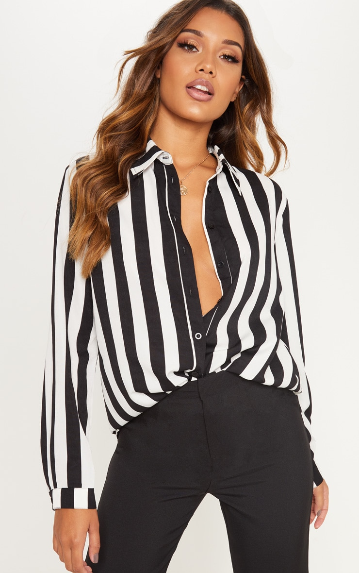 Monochrome Stripe Satin Button Front Shirt 1