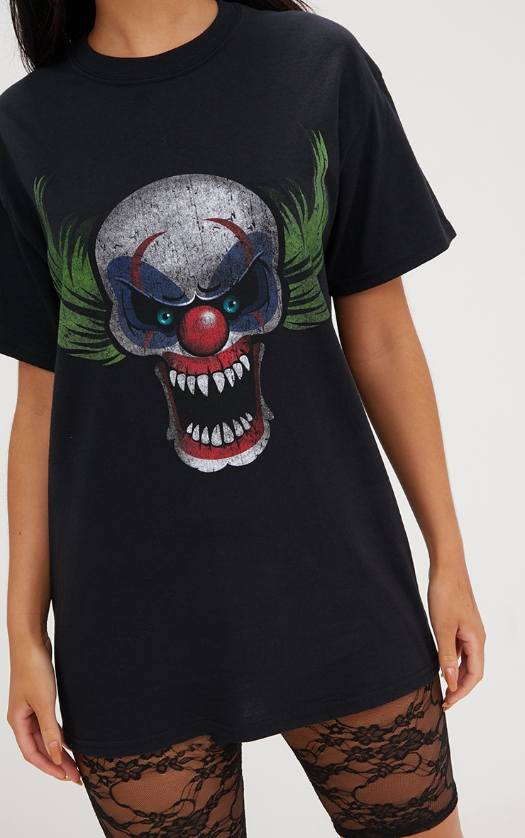 Black Scary Clown Print T Shirt 5