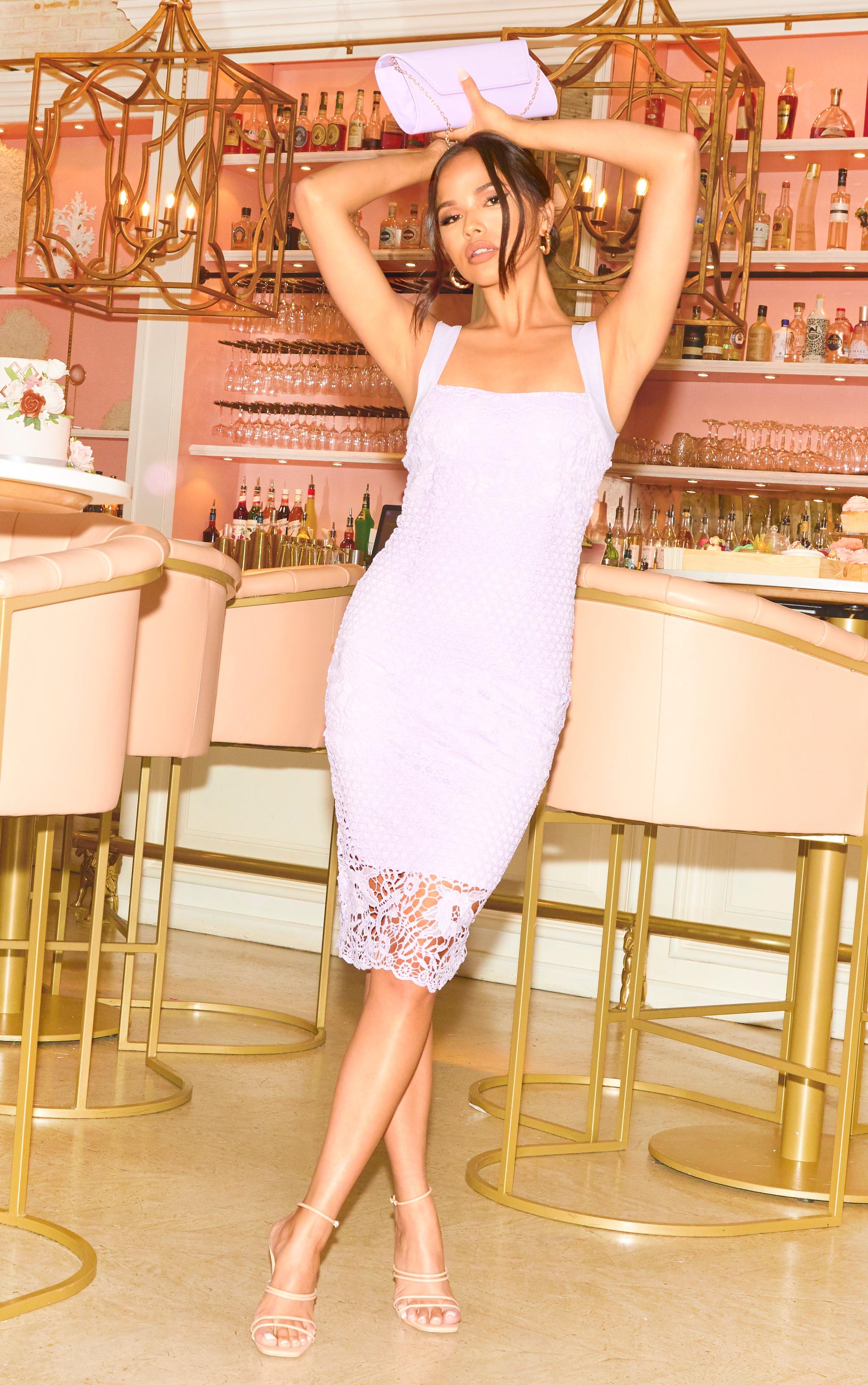 Lilac Lace Contrast Lining Cami Midi Dress 1