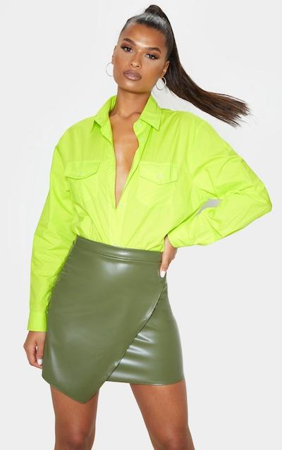Khaki Faux Leather Wrap Mini Skirt