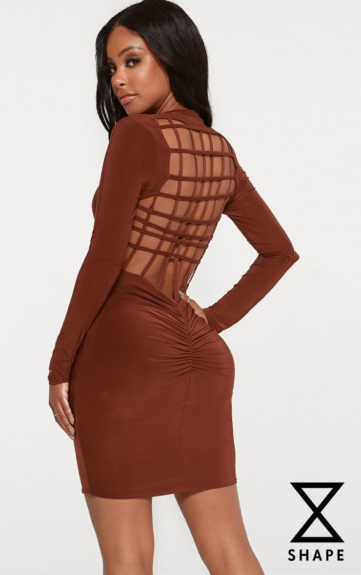 Shape Chocolate High Neck Lattice Back Bodycon Dress 1
