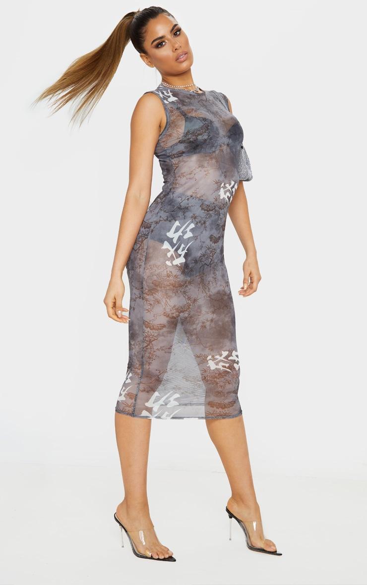 Tall Black Oriental Mesh Midi Dress 4