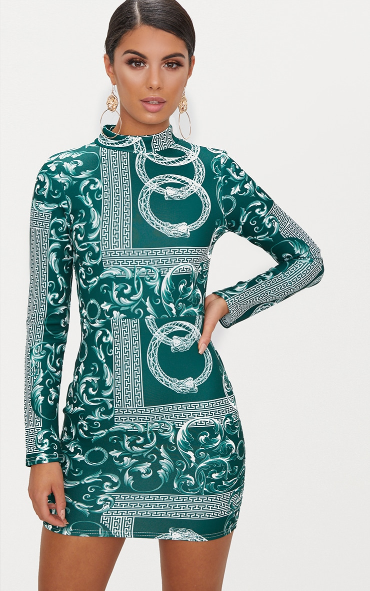 Emerald Green Long Sleeve High Neck Printed Backless Bodycon Dress 2