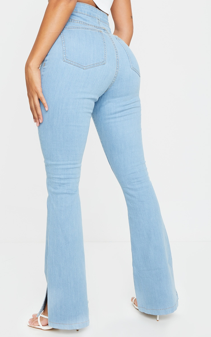 Shape Light Blue Wash Split Hem Flared Jeans 3