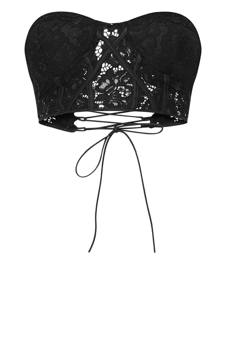 Black Lace Corset Crop Top  3