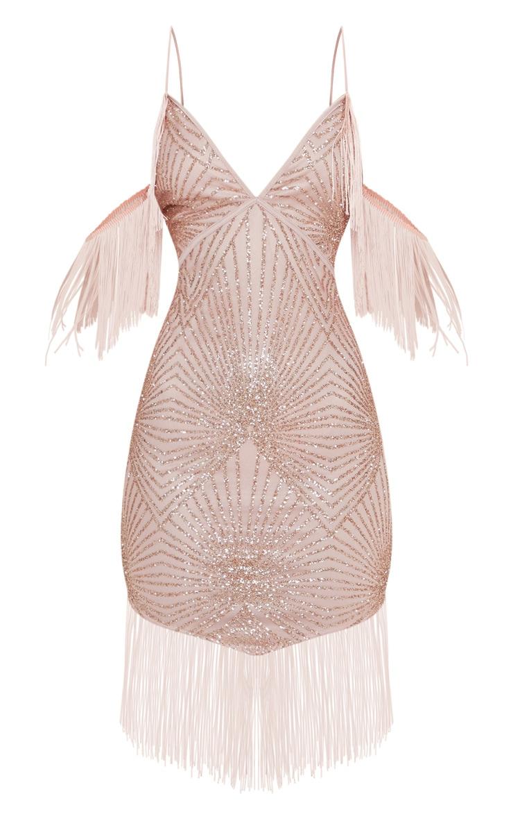 Rose Sequin Tassel Cold Shoulder Detail Midi Dress 3