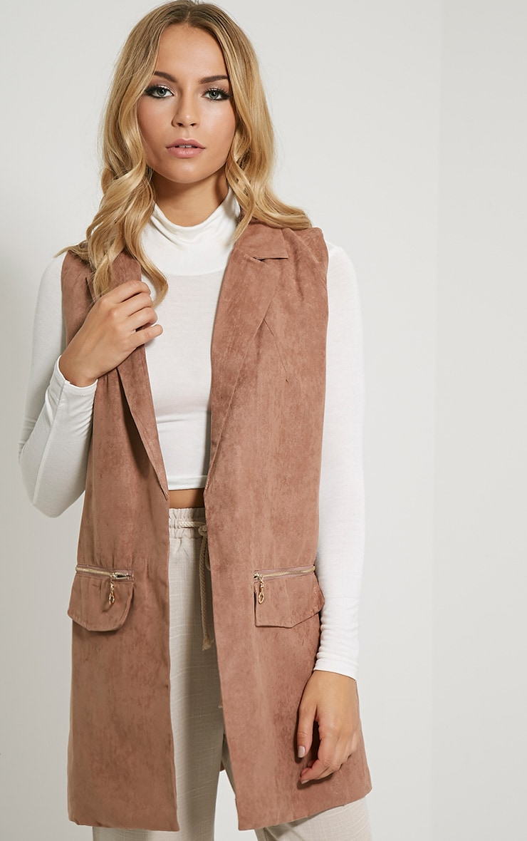 Veera Tan Sleeveless Faux Suede Jacket 1