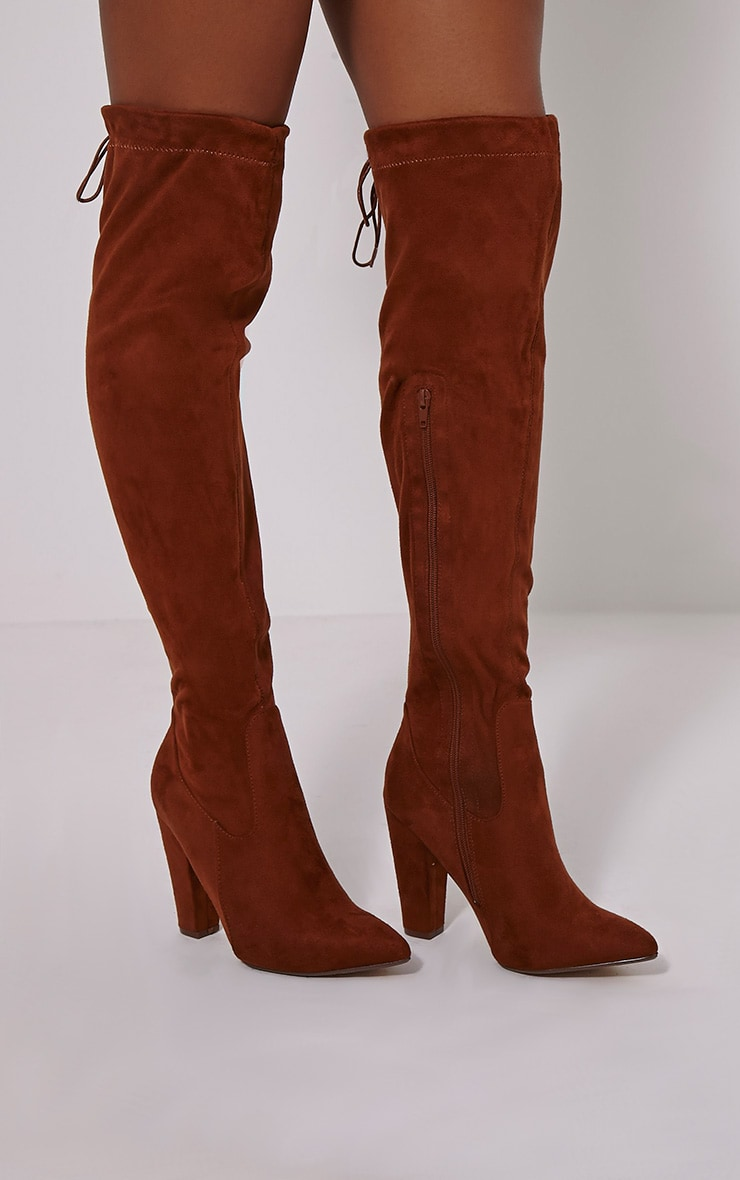 Hazel Tan Faux Suede Heel Thigh Boots 1