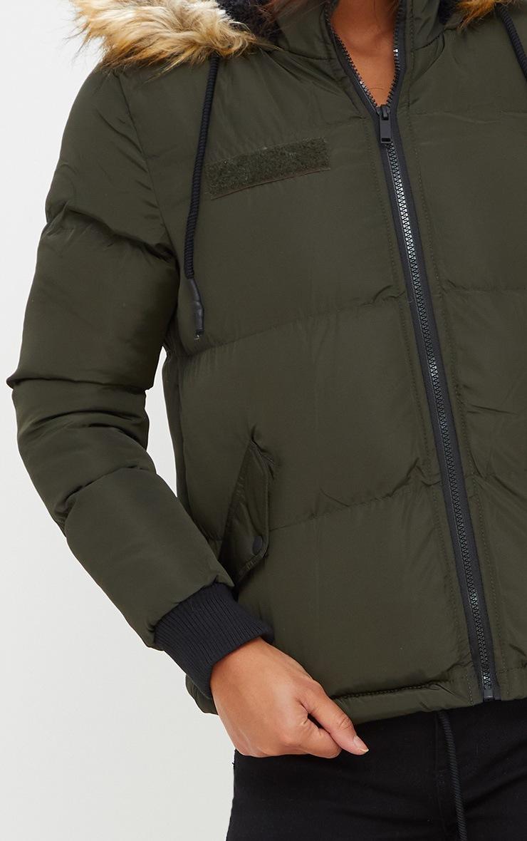 Khaki Puffer Jacket with Faux Fur Hood 5