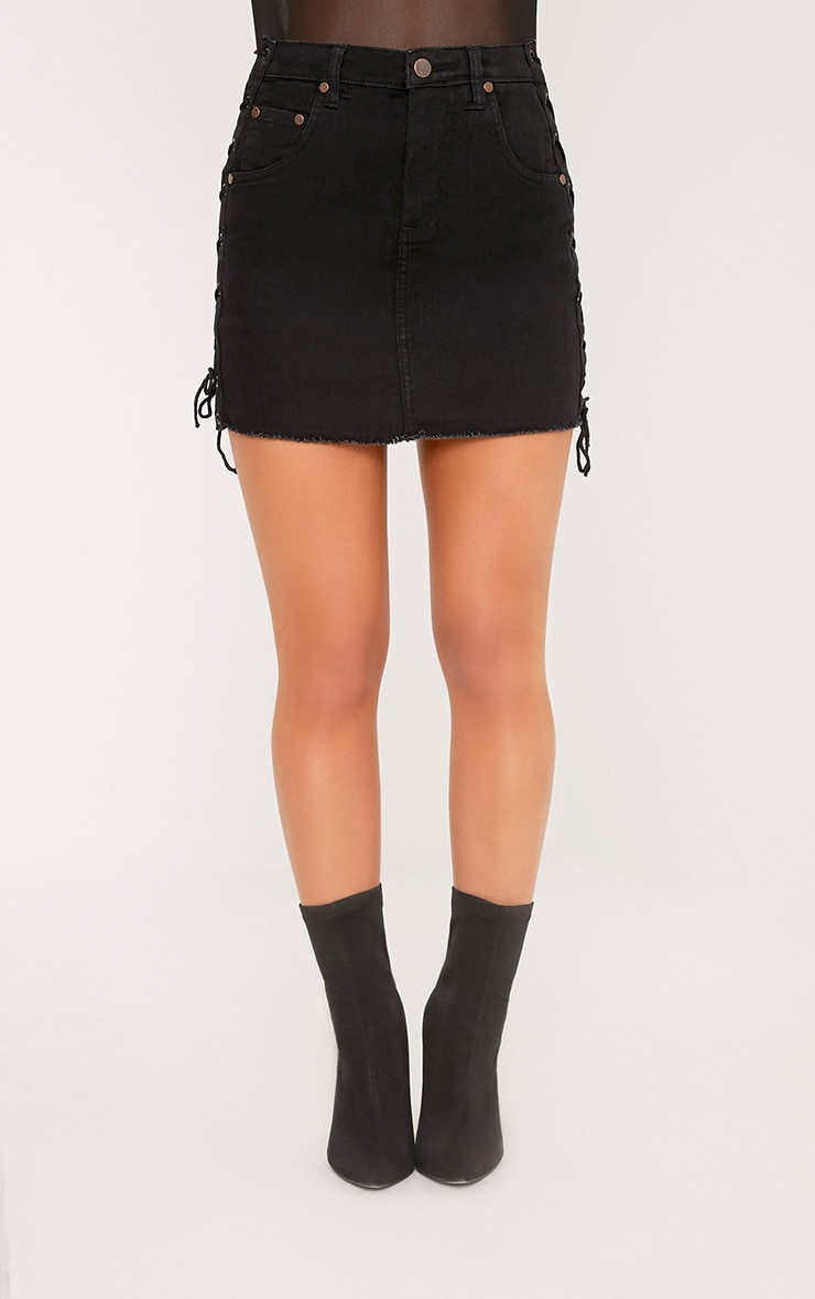 Petite Vada Black Lace Up Side Denim Mini Skirt 2