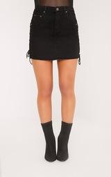 7fc6491c50 Petite Vada Black Lace Up Side Denim Mini Skirt | PrettyLittleThing