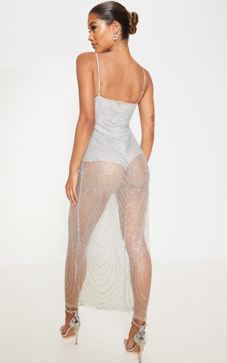 Silver Sheer Glitter Maxi Dress 2