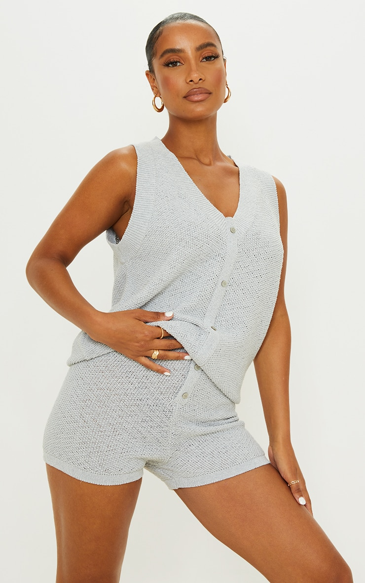 Recycled Light Grey Knitted Button Up Vest Set 1