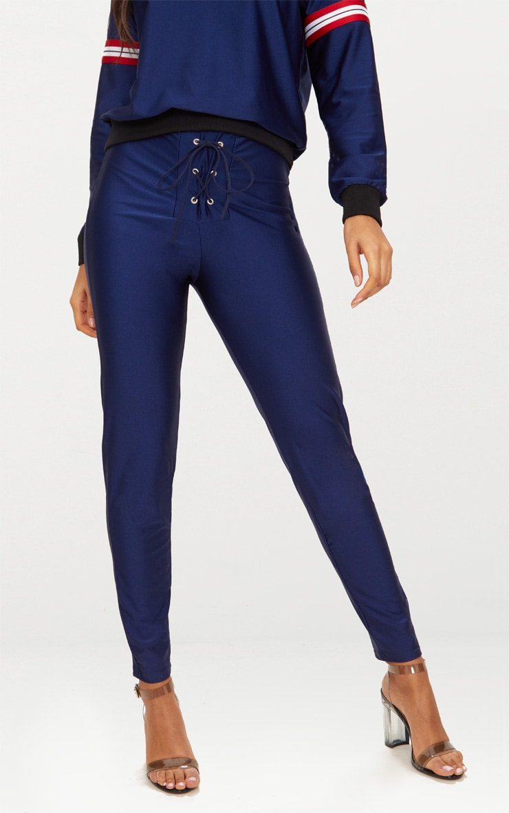 Navy Lace Up Disco Trousers 2