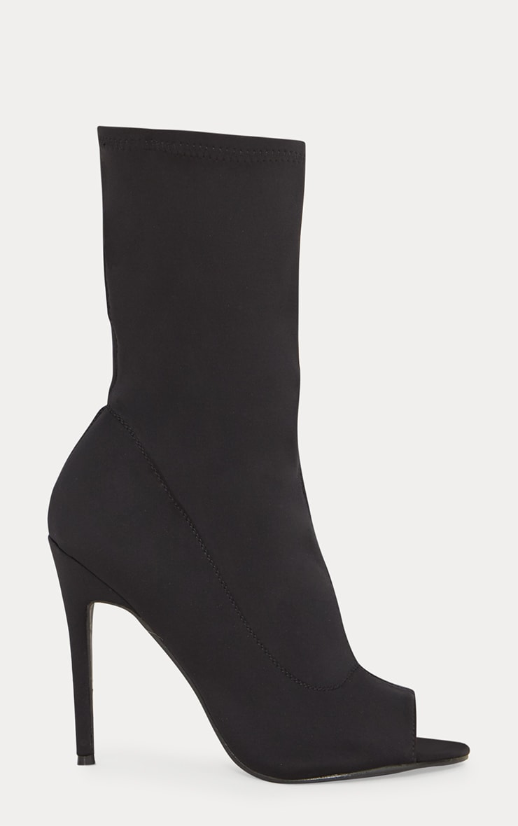 Black Lycra Peeptoe Sock Boot 4