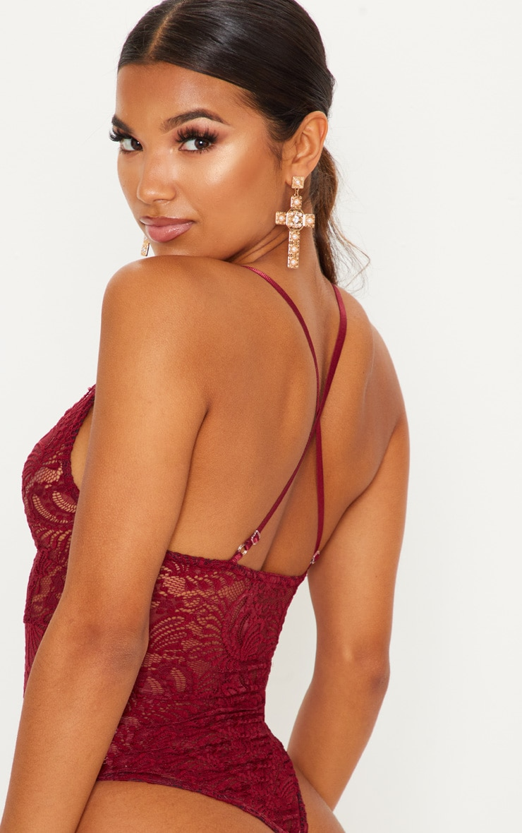 Lucille Burgundy Sheer Lace Cross Back Bodysuit 5