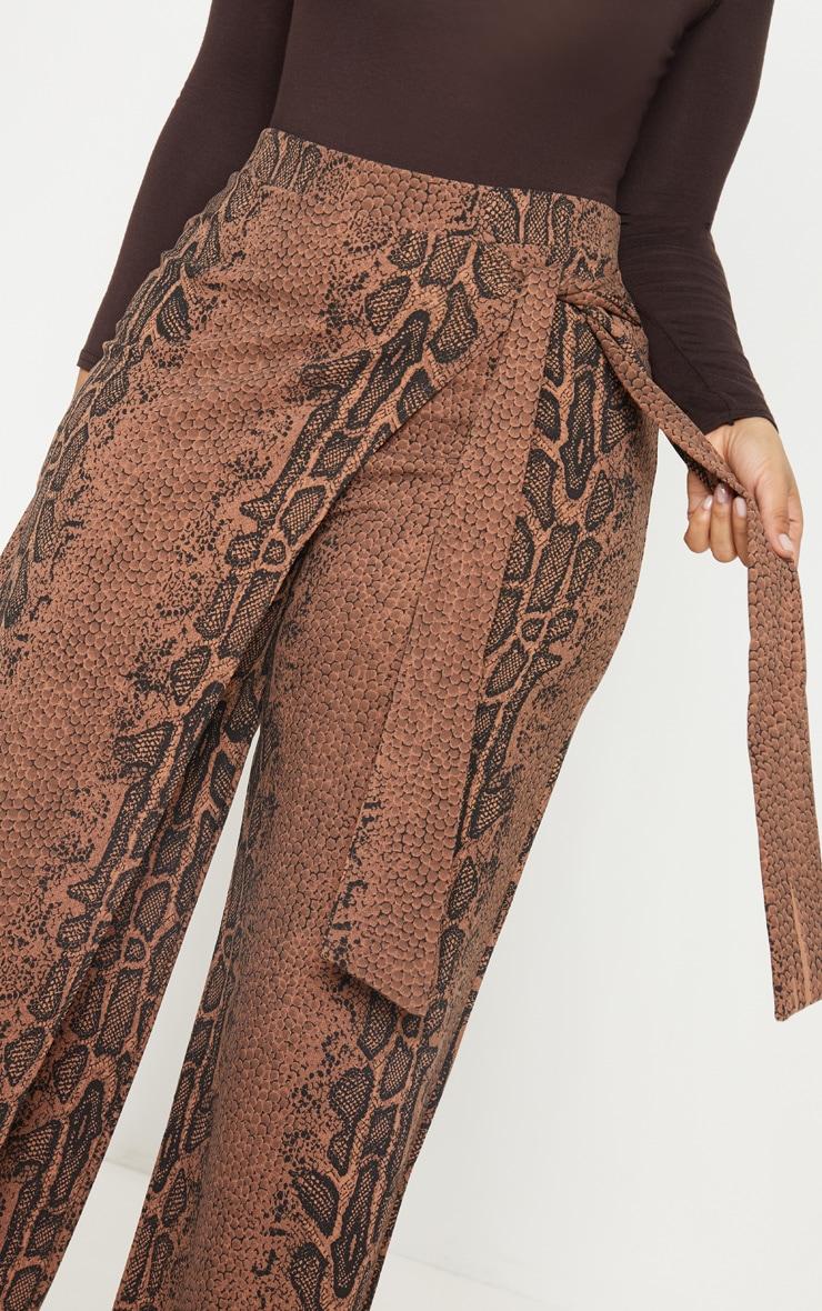 Plus Taupe Snake Print Wrap Detail Extreme Wide Leg Pants 5