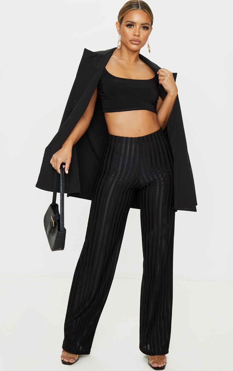 Petite Black Satin Stripe Wide Leg Pants 1