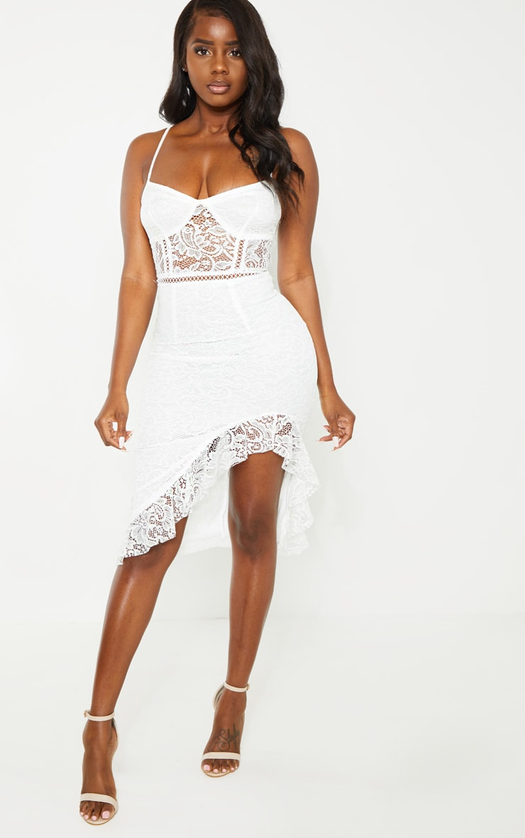 Petite White Lace Side Split Bodycon Midi Dress 1