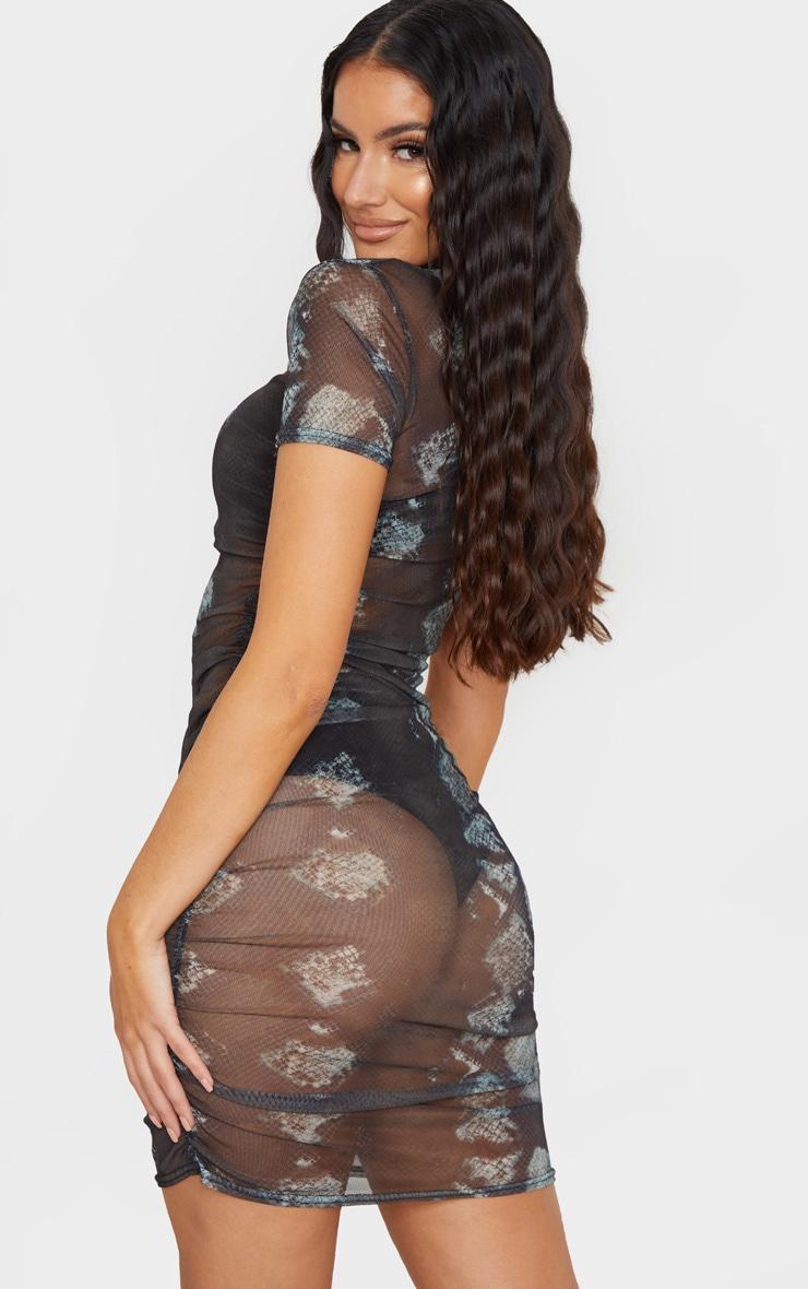Black Snake Print Ruched Mesh Bodycon Dress 2