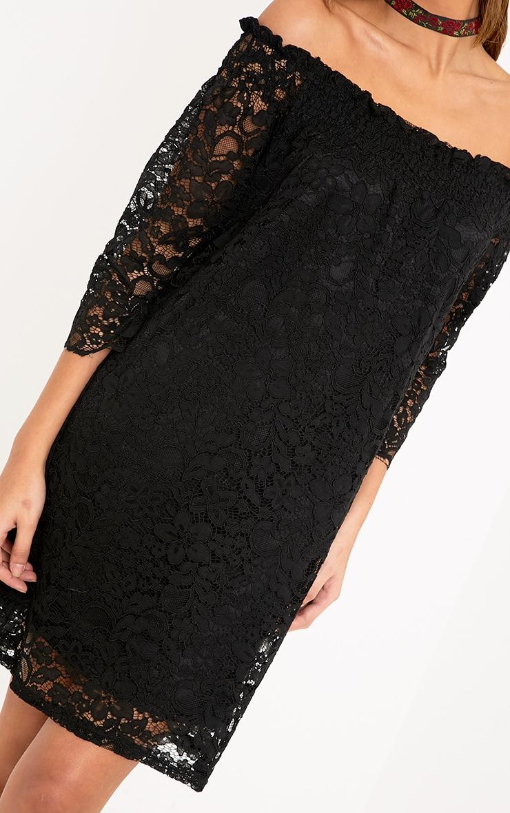 Cora Black Lace Bardot Shift Dress 5