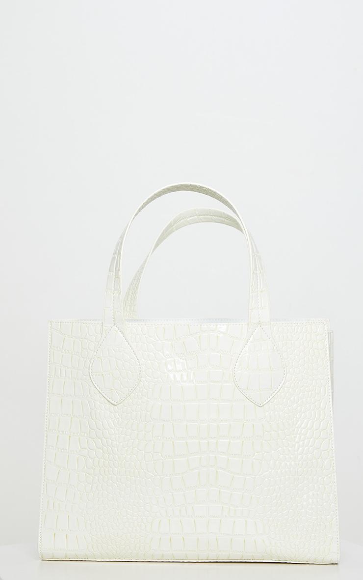 White Croc Tote Bag 2