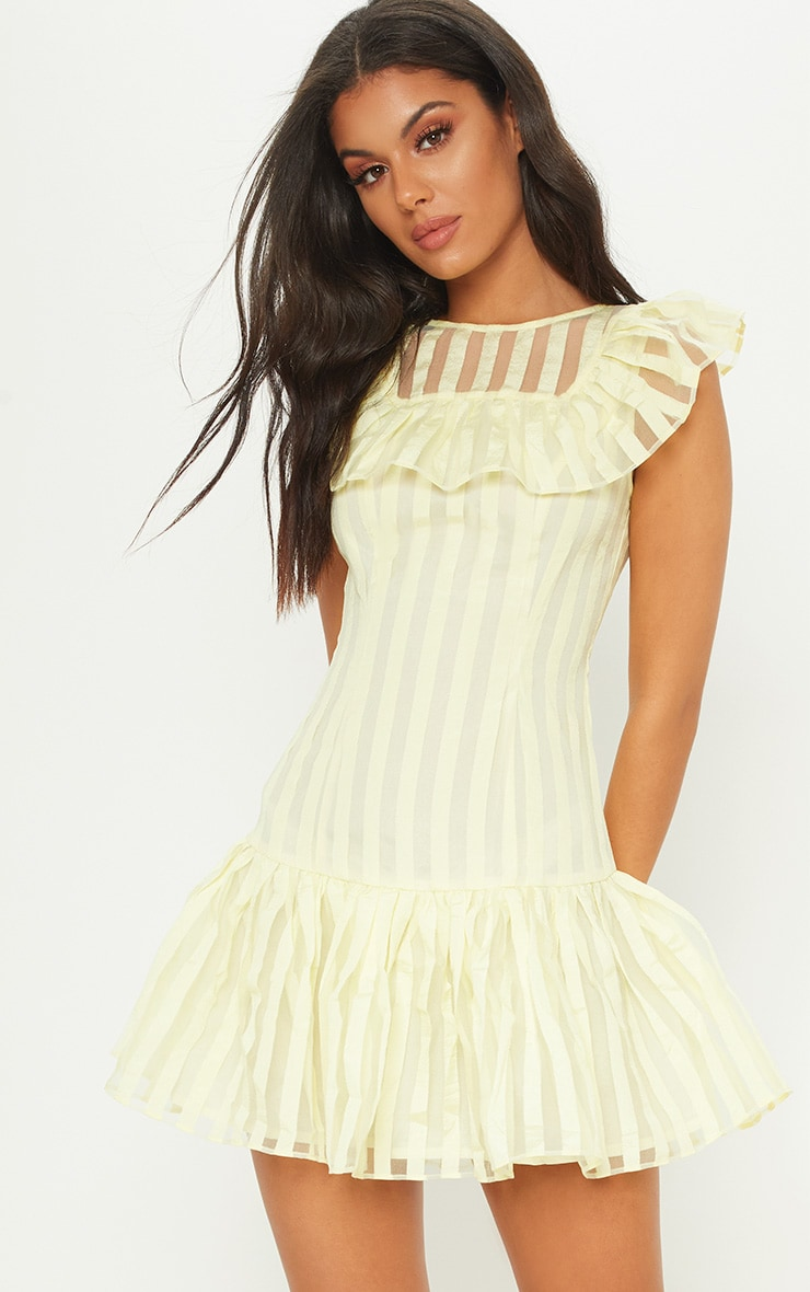 Lemon Striped Mesh Frill Hem Bodycon Dress 1