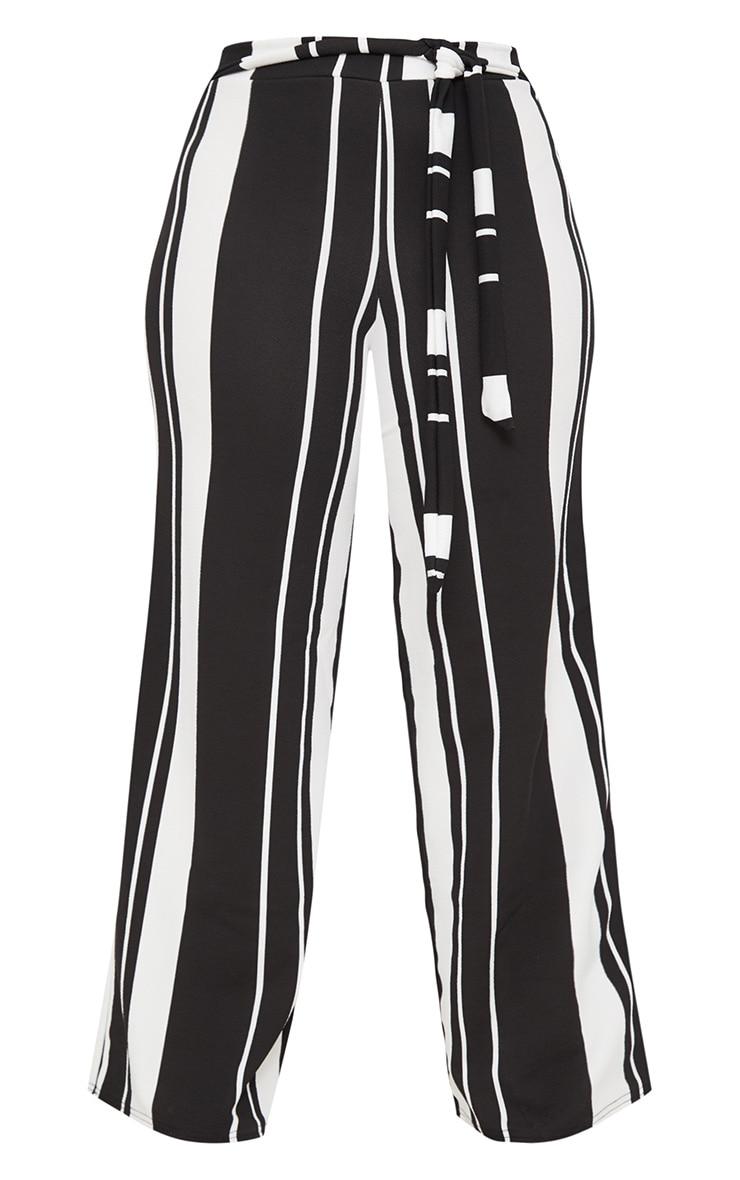 Plus Black Crepe Tie Waist Wide Leg Trousers 3
