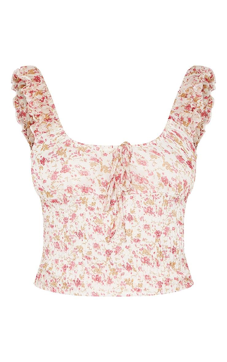 Pink Ditsy Floral Printed Shirred Sleeveless Crop Top 3