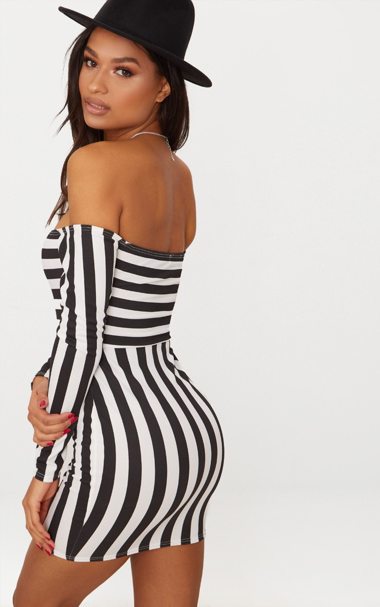 Black Contrast Stripe Bardot Bodycon Dress 2