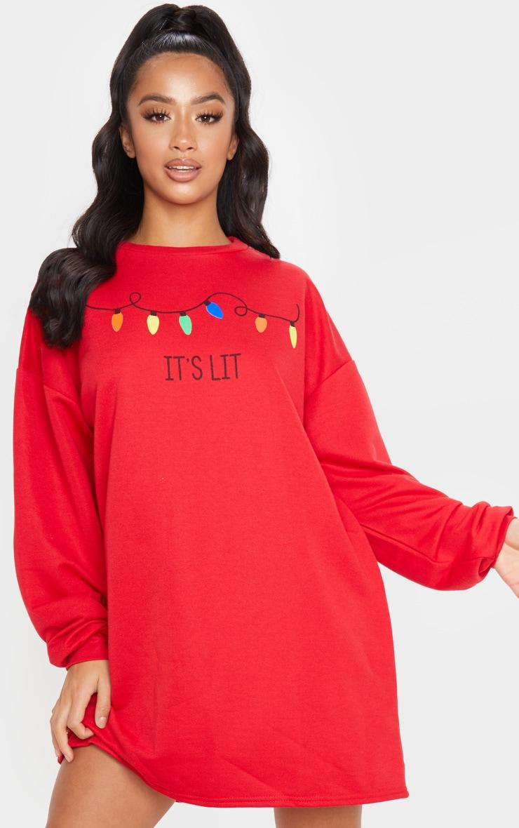 Petite Red It's Lit Jumper Dress 1