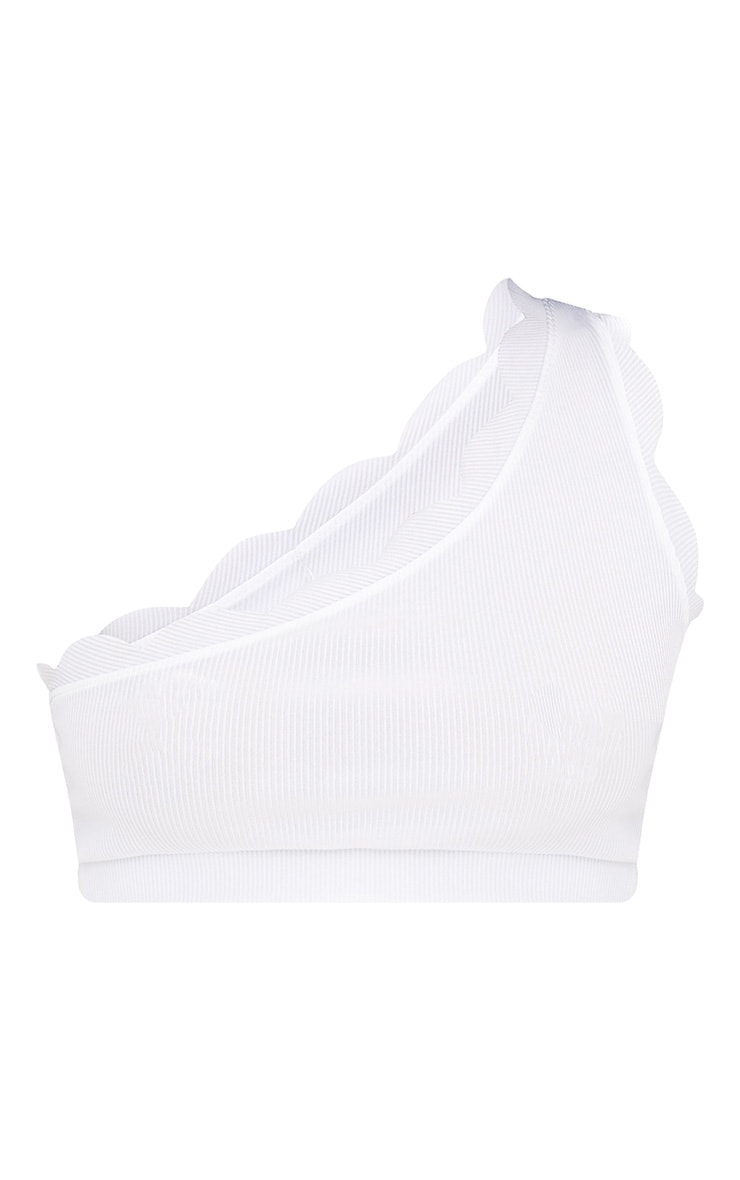 White Scalloped Edge One Shoulder Crop Top 3