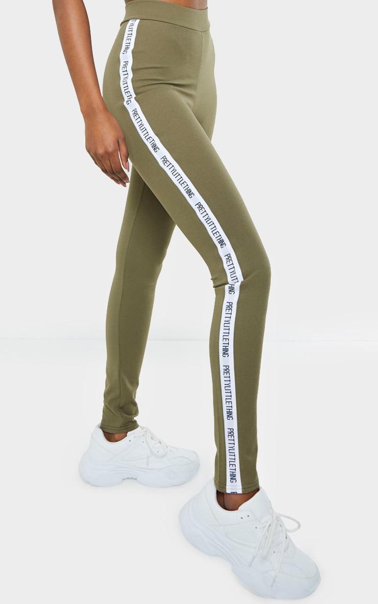 PRETTTYLITTLETHING Tall Khaki Side Tape Leggings 2