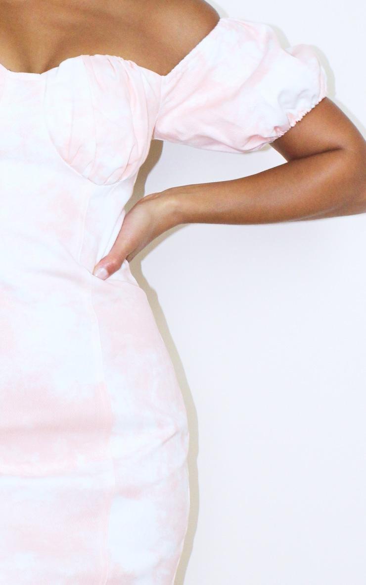 Petite Pink Tie Dye Denim Milkmaid Mini Dress 4