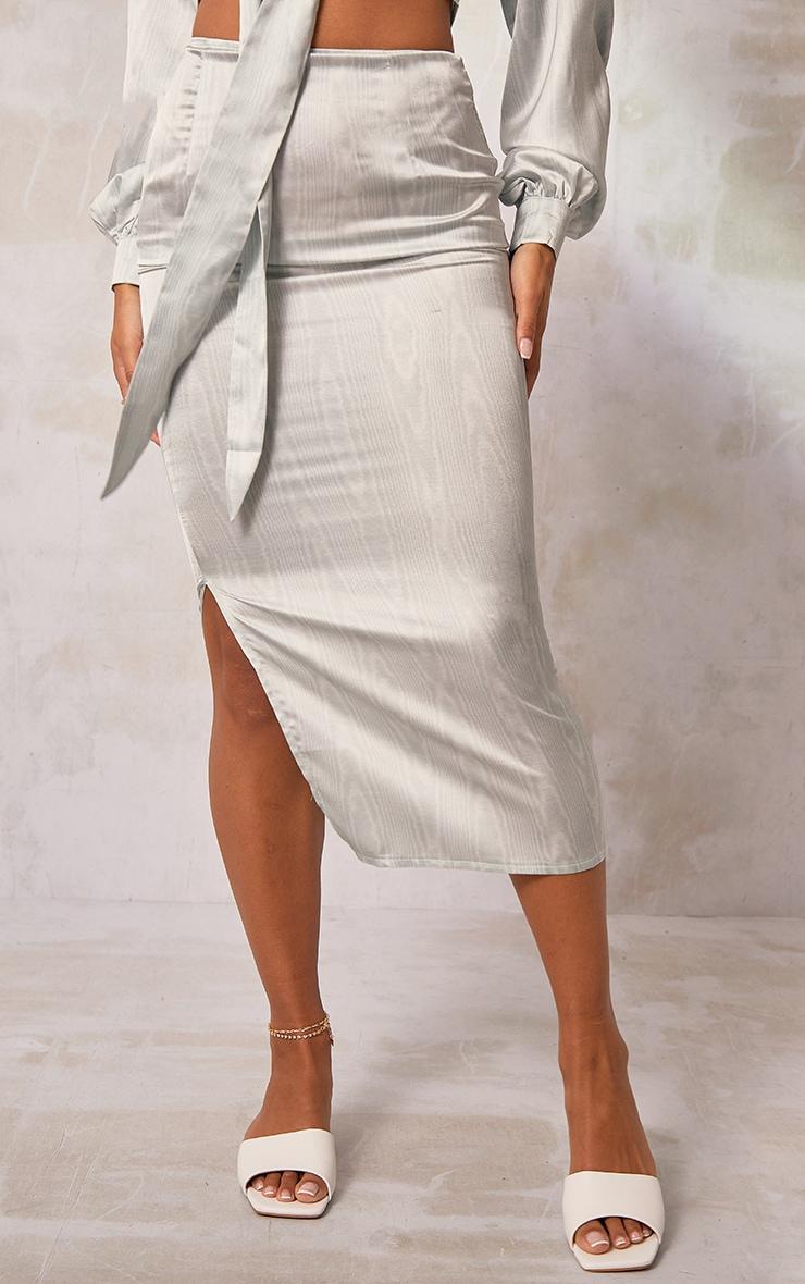 Sage Green Printed Satin Side Split Midaxi Skirt 2