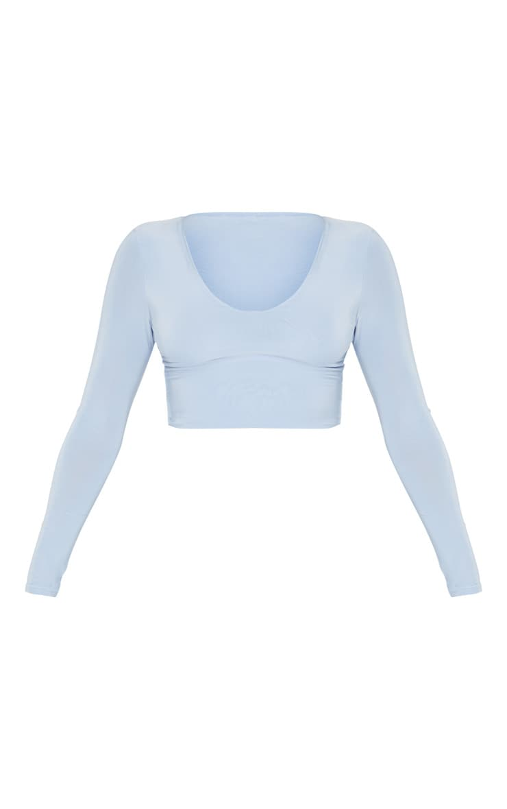 Baby Blue Mix & Match Second Skin Long Sleeve V Neck Crop Top 3
