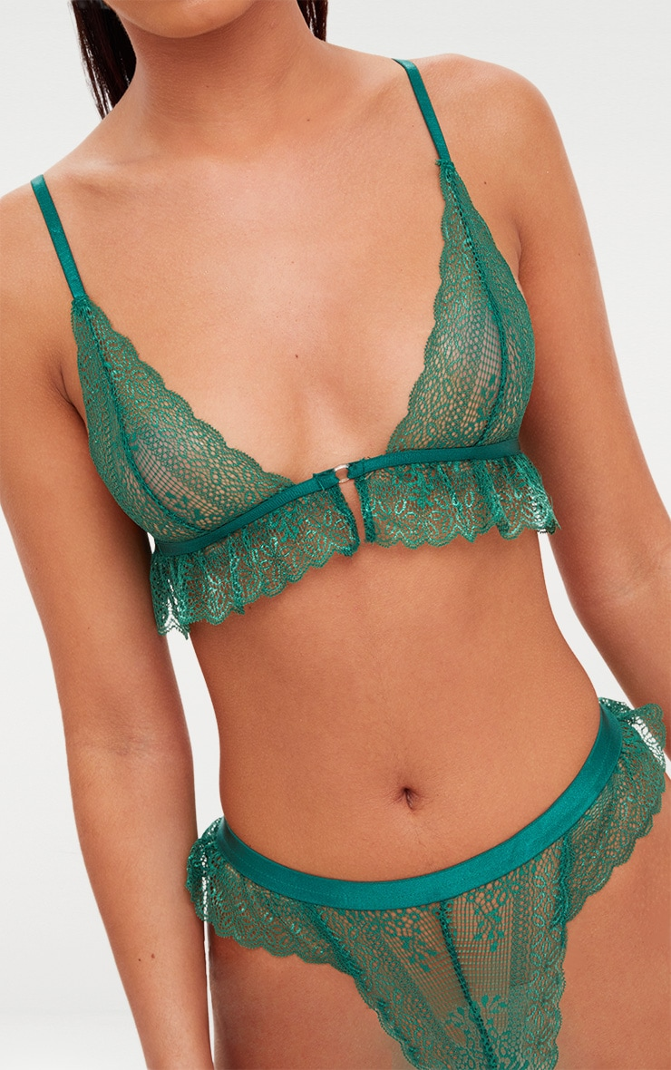Emerald Green Frill Lace Detail Lingerie Set 5