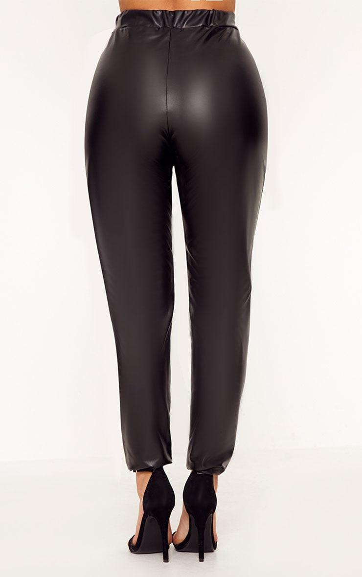 Shape Cynthia Black PU Lace Up Trousers 4