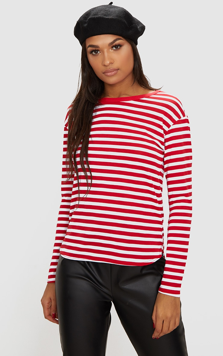 Red Stripe Jersey Long Sleeve Top 1