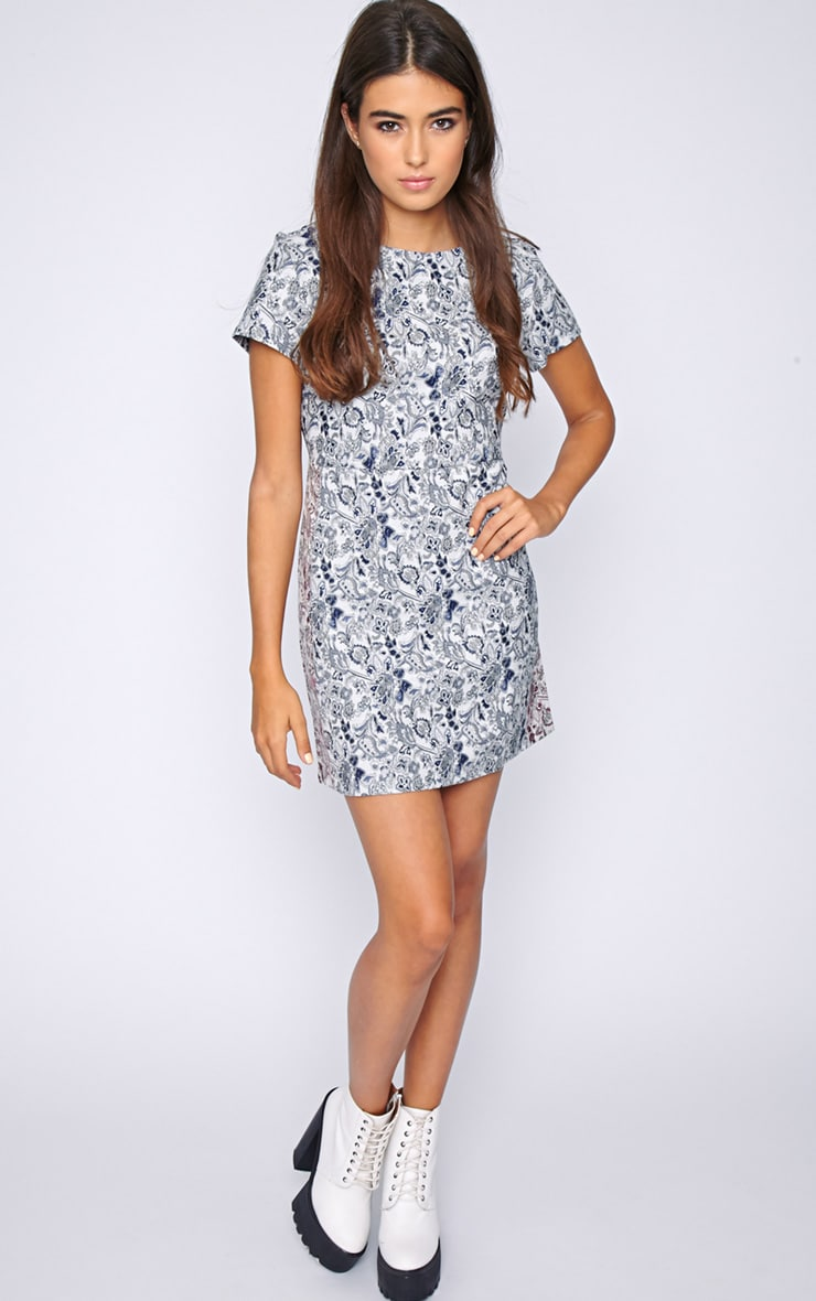 Arya Blue Paisley Print Shift Dress 3
