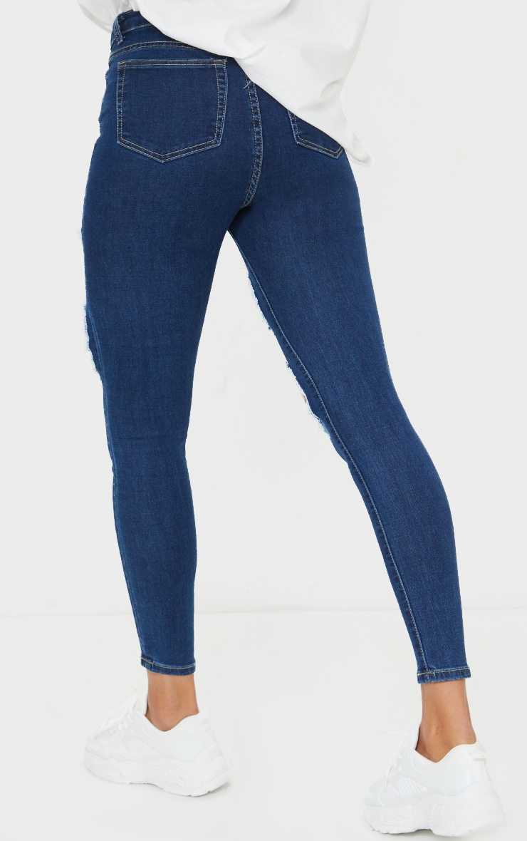 PRETTYLITTLETHING Mid Blue Wash Open Thigh Ripped 5 Pocket Skinny Jeans 3