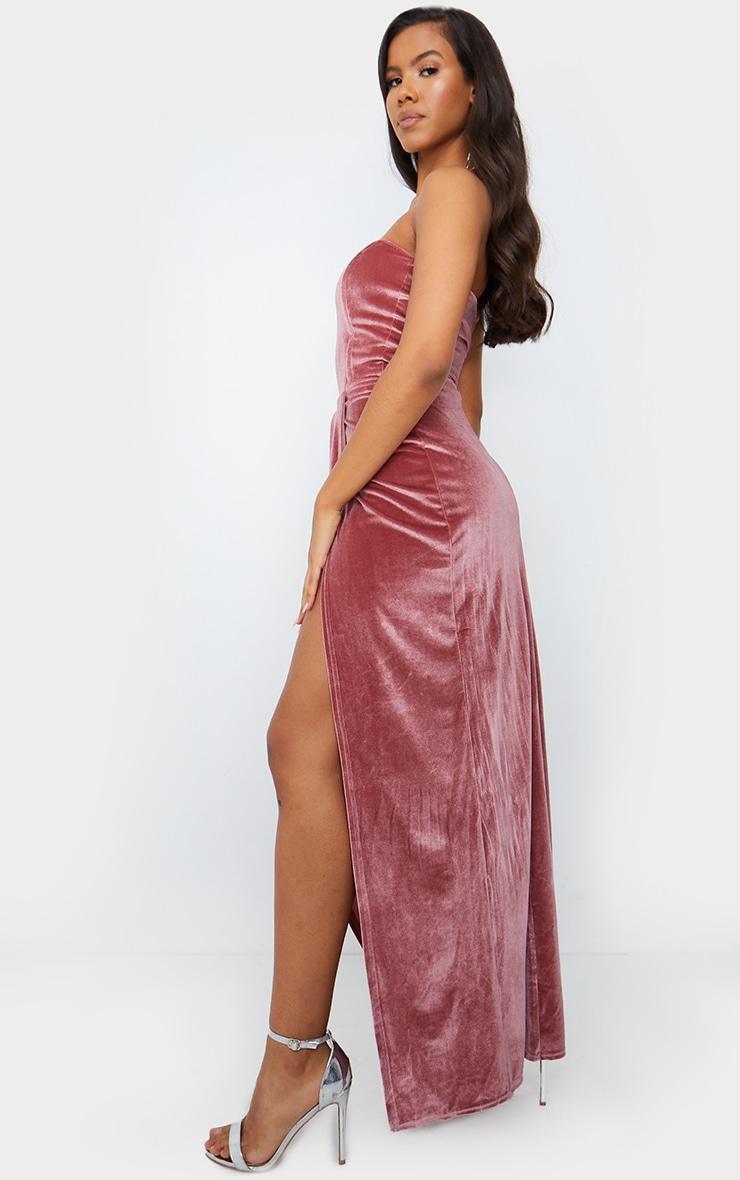 Dusty Pink Boning Detail Velvet Bandeau Maxi Dress 2