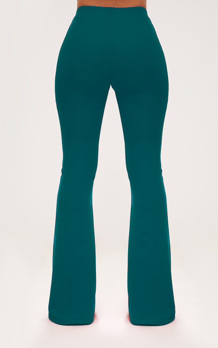 Forest Green High Waist Extreme Flare Long Leg Trousers 4