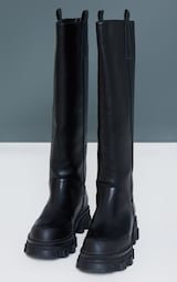 Black Pu Round Toe Chunky Welly Knee Boots 3